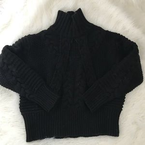 Zara black cable knit turtleneck sweater